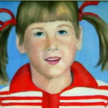 oil painting of a little girl with pigtails