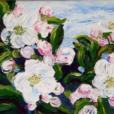 Knife painting of apple blossoms