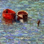 Oil painting of two boats