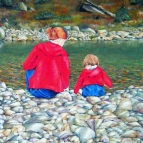 Friendship. Oil painting of a girl and child on a riverbank.
