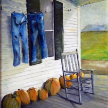 oil painting of rocking chair on front porch