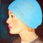 Oil painting of young girl with blue had
