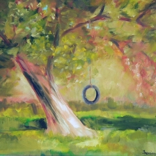 oil painting of oid tire swing on old tree