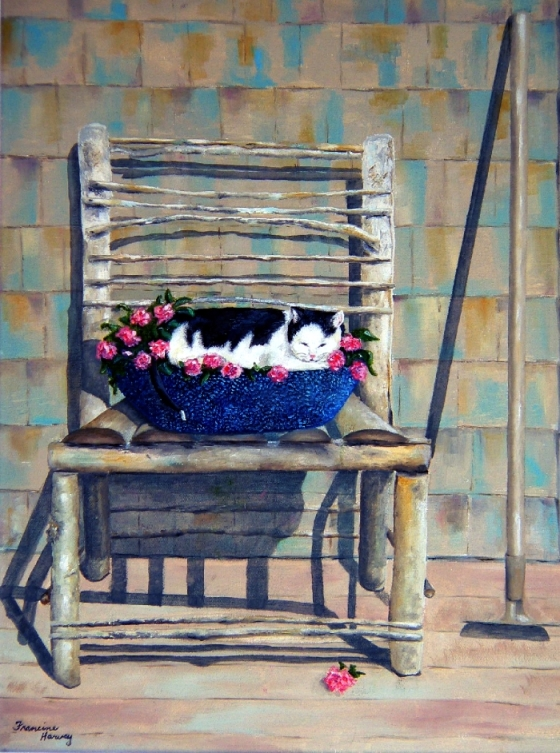 oil painting of cat in planter on twig chair