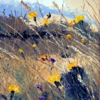 Oil painting of wild field