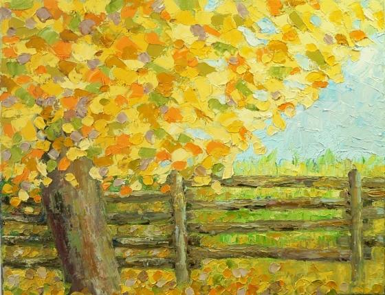 oil knife painting of fall oak tree
