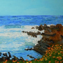 Oil painting of rocky ocean coast