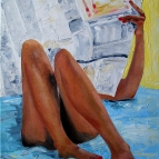 oil painting of naked girl reading newspaper on bed