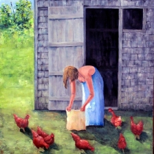 oil painting of a young woman feeding the chickens