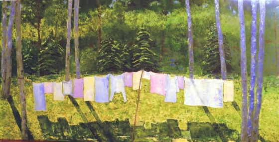 oil painting of old fashioned clothes line