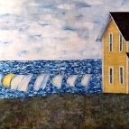 Oil painting of clothes line, house near ocean