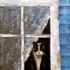 Oil Painting of Cat looking out the Window