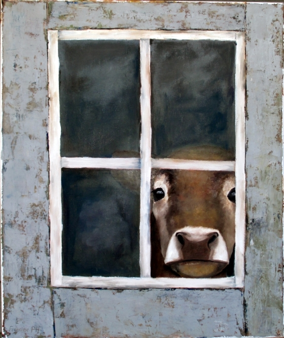Oil Painting of Sad Jersey cow