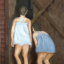 Oil painting of two young girls looking in barn