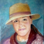 Oil Painting of young woman with straw hat