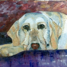 Oil painting of a dog