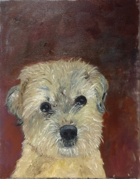 Oil painting of Small Dog who has passed on