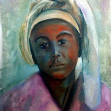 oil painting of siera leon girl