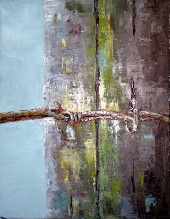 oil painting of wire on old fence post