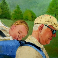 oil painting of grandfather with grandaughter in backpack