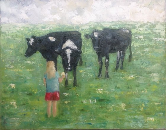 Little Girl Feeding Daisies to Cows