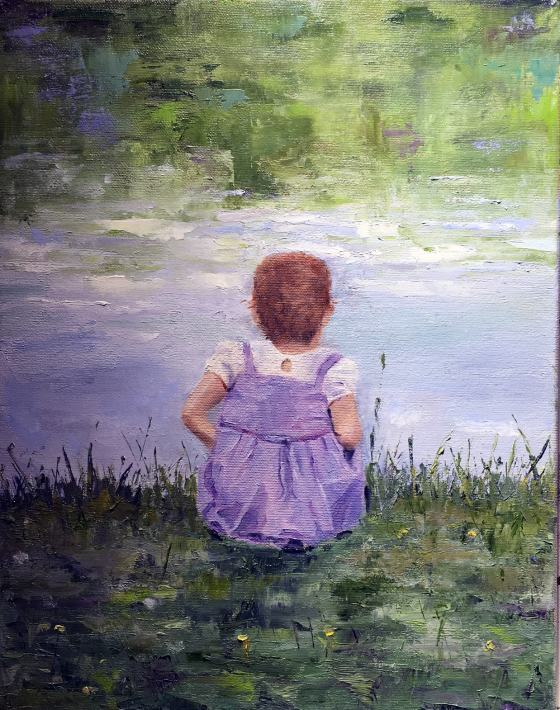 Little Girl by the Pond