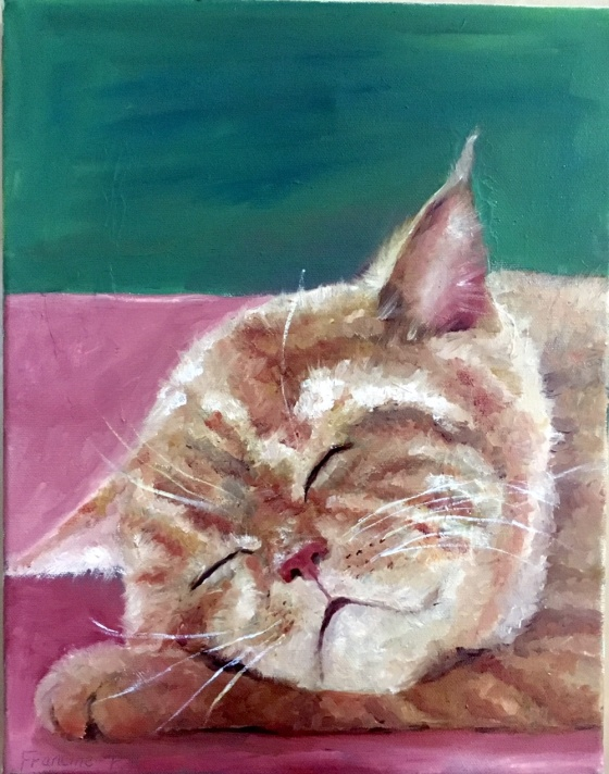 Oil painting of a cat sleeping