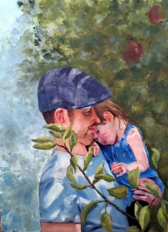 Oil painting of Father holding daughter at apple picking time