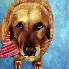 Oil painting of a Yellow lab