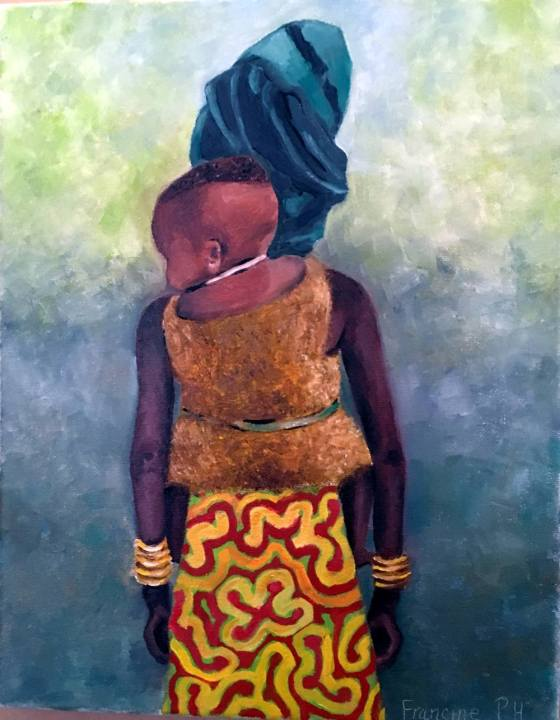 Oil Painting of African girl carrying a baby