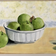 Watercolor of apples on table