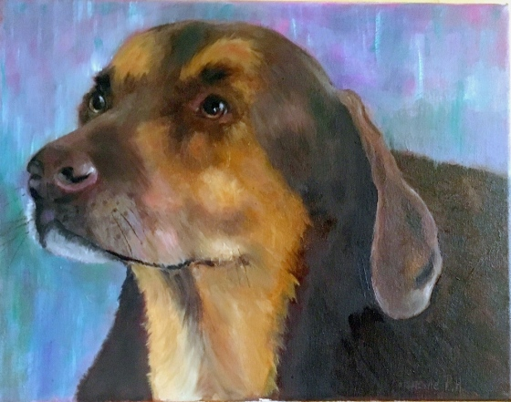 Oil painting of a farm dog