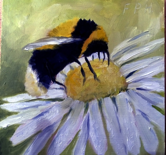 Oil painting of a bee