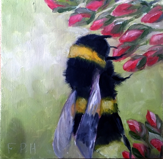 oil painting of bee