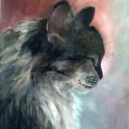 cat oil painting