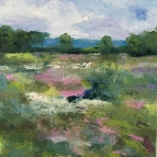 Oil painting of summer meadow