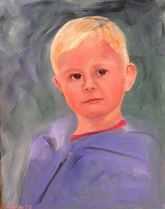 11x14 inch oil painting of a little boy